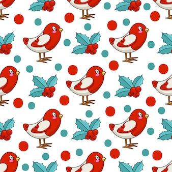Рождество бесшовные модели с птицей каваи