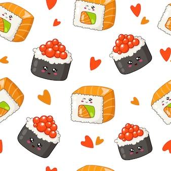 Каваи суши, роллы, палочки для еды, листья бамбука - бесшовный фон или фон, мультяшный смайлик
