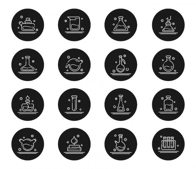 Набор контурных изображений - лабораторные колбы, пробирки для научного эксперимента. химическая лаборатория