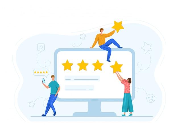 クライアントのフィードバックまたはレビューのコンセプト、オンラインサービスの評価、顧客満足