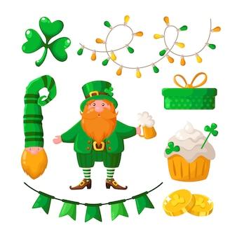 聖パトリックの日漫画シャムロック、クローバーリーフ、レプラコーン、ビールカップ、ドワーフ、装飾的なガーランド