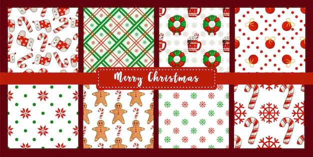 Рождество бесшовные модели с новогодними украшениями конфета, снежинка, носки, пряничный человечек