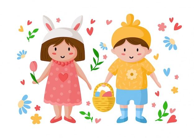 Мультипликационный мальчик и девочка в день пасхи, счастливые дети в праздничных костюмах из креста и курица с пасхальными яйцами