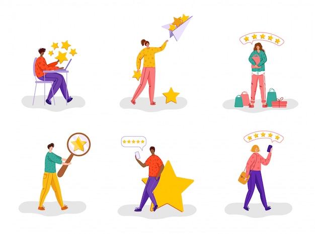 Концепция обратной связи с клиентами или клиентами - люди и звезды рейтинга