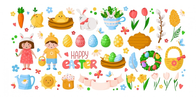 Мультфильм пасха, дети мальчик девочка в костюмах, пасхальные яйца, весенние цветы, кролик, курица, ветка ивы
