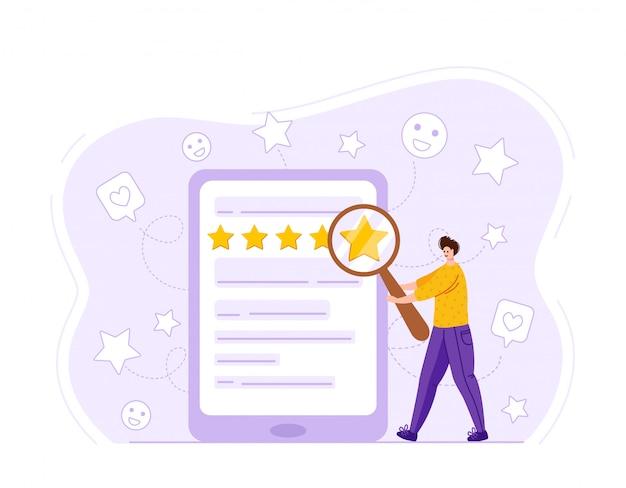 Концепция обратной связи с клиентами, счастливые отзывы клиентов. крошечный человек с гигантской лупой