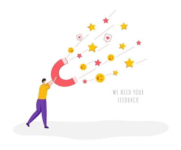 Концепция обратной связи с клиентом, человек с гигантским магнитом, отзывы и отзывы клиентов