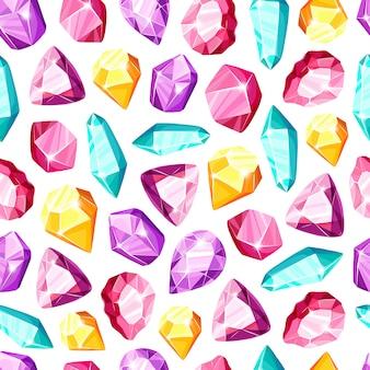クリスタルのシームレスなパターン-カラフルなレインボークリスタルまたは宝石