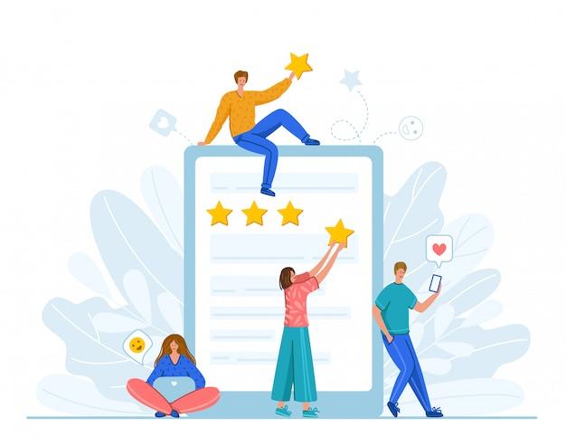 クライアントのフィードバックまたはレビューのコンセプトとオンラインサービスの評価、幸せな顧客