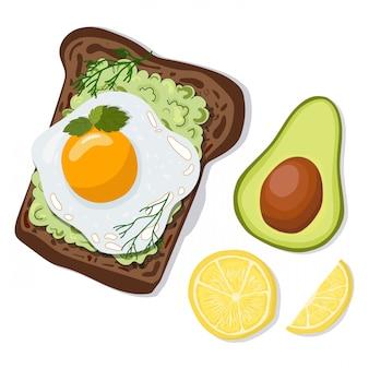 Вектор тост с авокадо и яйцом