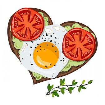 アボカドとトマトのベクトルトースト