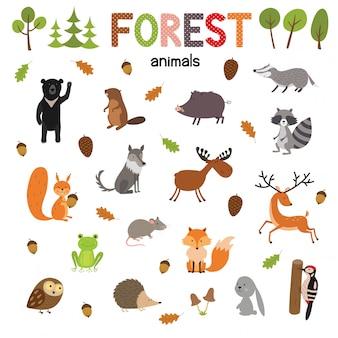 フラットスタイルのベクトルで作られた森の動物のセットです。子供向け動物園漫画コレクション