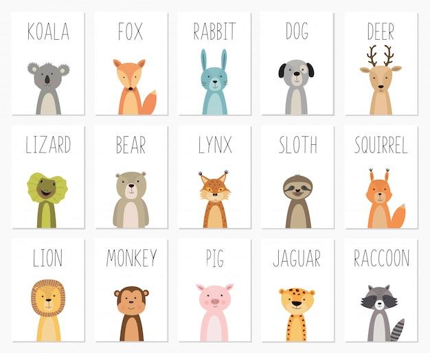 かわいい動物のポスター、テンプレート、カード、クマ、ウサギ、コアラ、キツネ、鹿、豚、トカゲ、オオヤマネコ、リスのセット