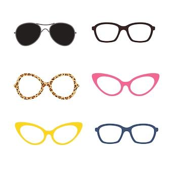 さまざまな色や形のメガネ