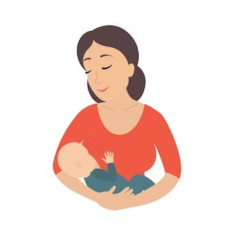 母は幼い子供を母乳で育てる。母乳。