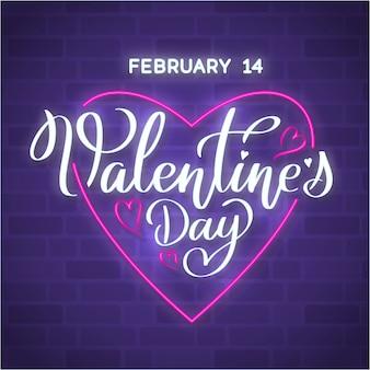 幸せなバレンタインデー心、明るい看板、光のバナーとネオンサイン。