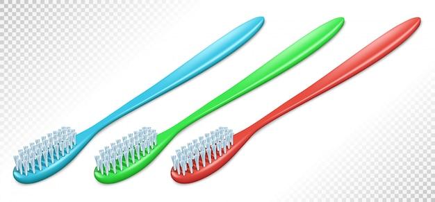 さまざまな色のプラスチック製の歯ブラシ。