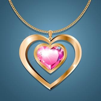 ゴールドチェーンにピンクの石のハートのネックレス