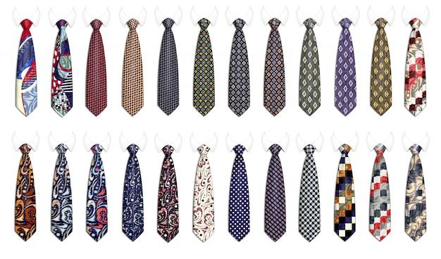 Мега комплект галстуков для мужских костюмов. реалистичная иллюстрация.