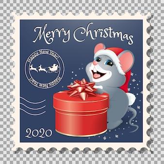 切手-ラットの幸せな年