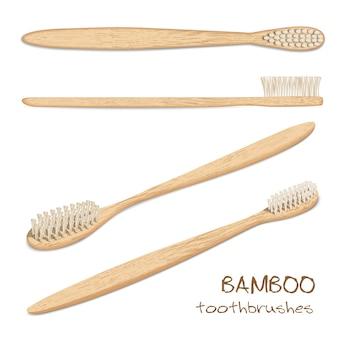Бамбуковые зубные щетки вектор