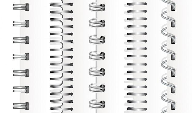 銀色の垂直スパイラルのセット
