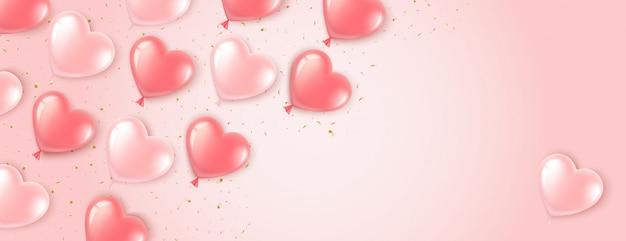 Баннер в форме сердца с розовыми шарами