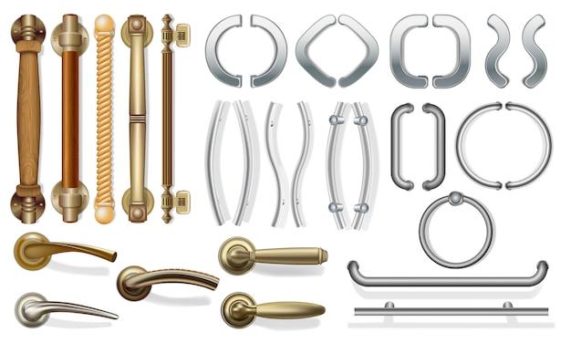 さまざまな種類のドア用の一連のドアハンドル。