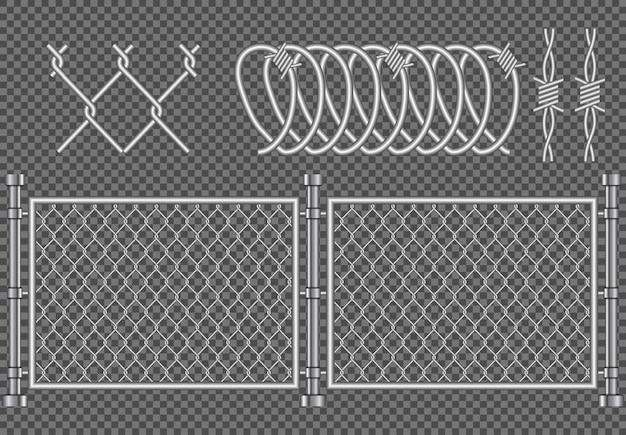 Металлический забор колючей проволоки реалистичные, иллюстрация защиты безопасности фон, предупреждение преступности армии графический шаблон границы изолированные бесшовные