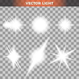 透明な背景にライトのセット
