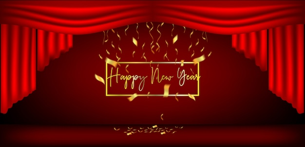 新年デザインの赤いカーテンとリボン