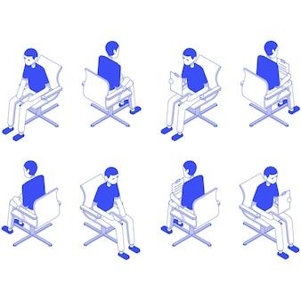 Изометрические набор мужской офис сидеть