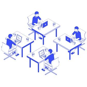 Изометрические набор мужской рабочий стол