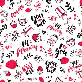 バレンタインデーベクトルシームレスパターン。隔離された芸術的な落書きの絵、レタリング、愛の言葉。