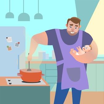 彼の腕の中で子供と一緒に台所で食べ物を準備するお父さん。ベクトル漫画イラスト