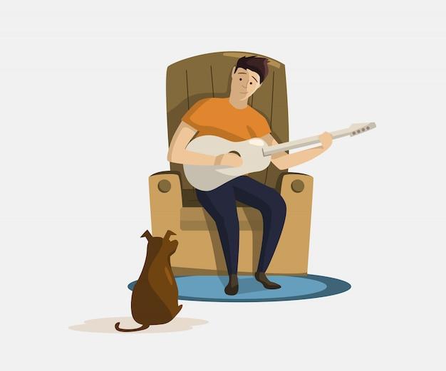 Человек сидит в кресле и играет на гитаре для собаки вектора