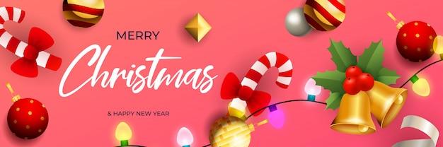 Счастливого рождества дизайн баннера с колокольчиками