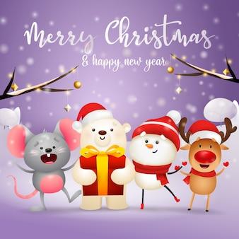 クリスマスのキャラクターとメリークリスマスのグリーティングカード
