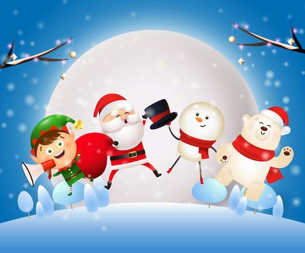 Рождественская ночь баннер с животными, санта на синем фоне