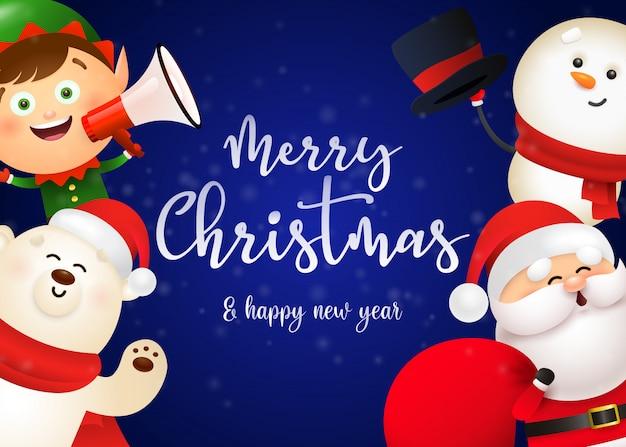 かわいいサンタとクリスマスのポストカードデザイン