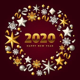 С новым годом золотой и серебряный рождественский венок на бордовом грунте