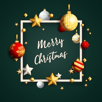 Счастливого рождества баннер в рамке с шарами на зеленом фоне