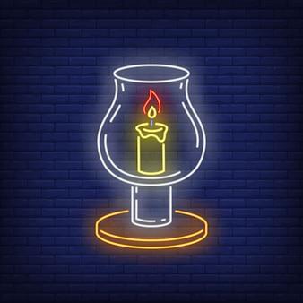Свеча в стекле в неоновом стиле
