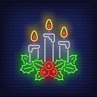 Рождественские свечи в неоновом стиле