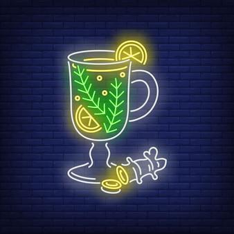 Чай в бокале в неоновом стиле