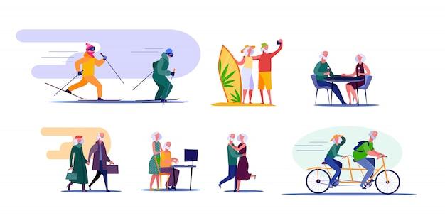 Активные старшие пары путешествуют и занимаются спортом