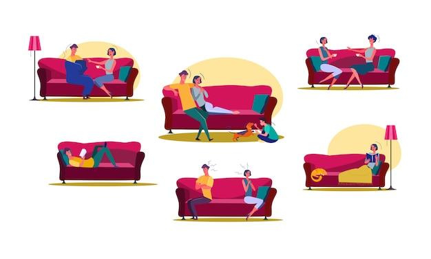 Набор мужчины и женщины, проводить время дома