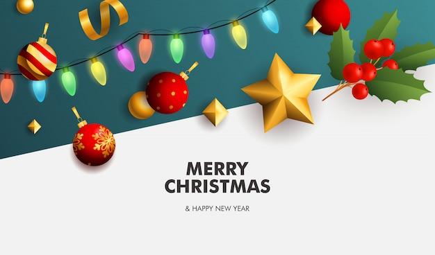 Счастливого рождества баннер с гирляндой на белом и синем фоне