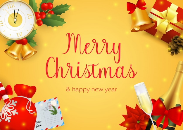 シャンパンとメリークリスマスのグリーティングカードのデザイン