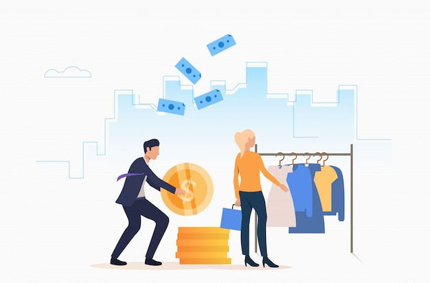 現金で服を買う人